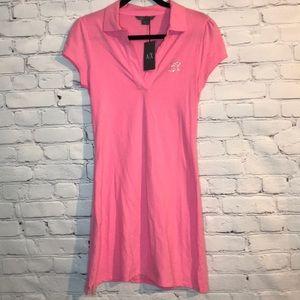 NWT Armani Exchange Hot Pink Rhinestone Polo Dress